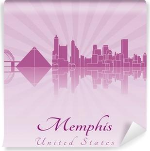 Papier peint vinyle Memphis horizon en violet orchidée rayonnante