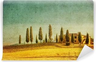 Papier peint vinyle Millésime paysage toscan