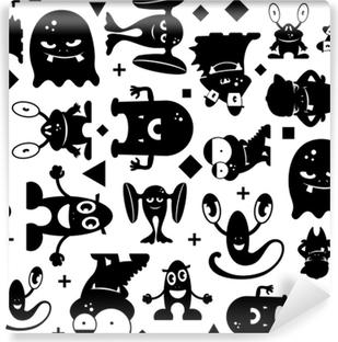 Papier peint vinyle Modèle noir et blanc sans couture avec des monstres.