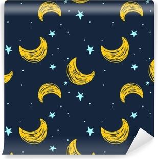 Papier peint vinyle Modèle sans couture avec la lune et les étoiles