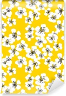 Papier peint vinyle Modèle sans couture de fleur de sakura sur fond jaune ensoleillé. élément de design floral printemps élégant naïf printemps pour invitation, carte, affiche, salutations, mariage.