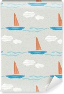 Papier peint vinyle Modèle sans couture de l'été avec des bateaux