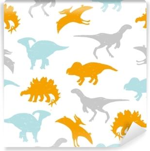 Papier peint vinyle Modèle sans couture enfantin avec des silhouettes pastel de dinosaures. illustration de vecteur dessinés à la main.