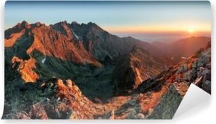 Papier peint vinyle Montagne Sunset Panorama à partir du pic - Slovaquie Tatras