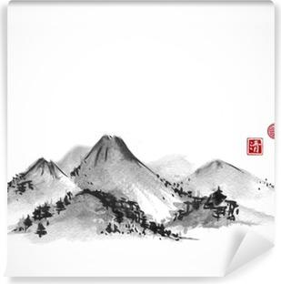Papier peint vinyle Montagnes dessiné à la main avec de l'encre sur fond blanc. Contient des hiéroglyphes - zen, la liberté, la nature, la clarté, grande bénédiction. peinture à l'encre sumi-e orientale traditionnelle, u-sin, go-hua.
