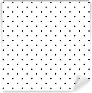 Papier peint vinyle Motif de vecteur de Tile polka noir points de fond blanc