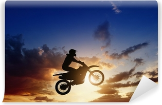Papier peint vinyle Motorcircle silhouette du cycliste