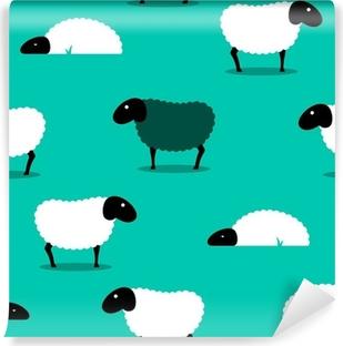 Papier peint vinyle Mouton noir parmi des moutons blancs carreaux de fond