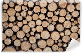 Papier peint vinyle Neige journal empiler le bois en hiver. Tas de bois de pin