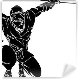 Papier peint vinyle Ninja combattant - vecteur EPS illustration. Toutes les vinyl-ready.