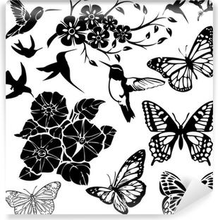 Tableau Sur Toile Oiseaux Papillons Et Fleurs Collage Vecteur