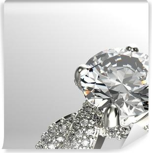 Papier peint vinyle Or Bague de fiançailles de diamant ou de moissanite. Bijoux