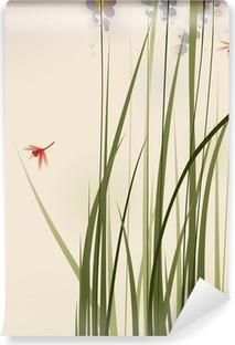 Papier Peint Peinture De Style Oriental Rouges Fleurs Dorchidée