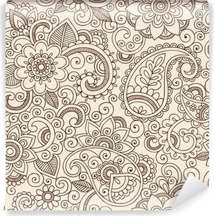 Papier peint vinyle Orné Henna Paisley Doodle Vector Design