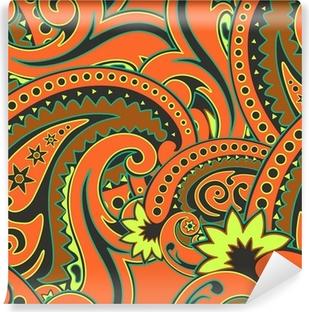 Papier peint vinyle Paisley orange illustration transparente