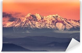 Papier Peint Vinyle Panorama matinal sur les montagnes Tatras enneigée