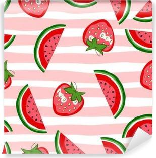 Papier peint vinyle Patron transparent aux pastèques et aux fraises. Texture d'été. Contexte de vecteur de dessins animés.