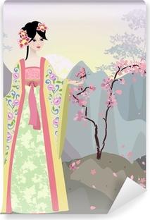 Papier peint vinyle Paysage chinois avec une fille