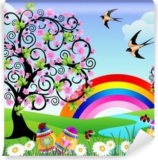 Tableau sur toile Paysage de printemps avec des oeufs de Pâques ...