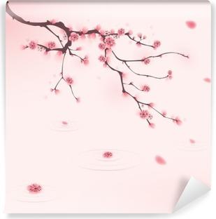 Papier peint vinyle Peinture de style oriental, fleur de cerisier au printemps