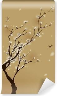 Papier peint vinyle Peinture de style oriental, fleur de prunier au printemps