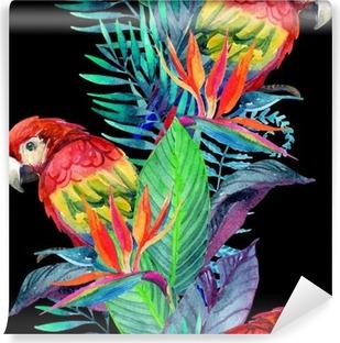 Papier peint vinyle Perroquets d'aquarelle avec des fleurs tropicales seamless pattern
