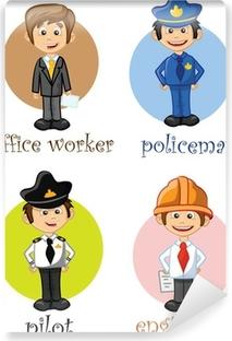 Papier peint vinyle Personnages de dessins animés de différentes professions