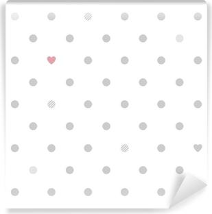 Papier Peint Vinyle Pois avec des coeurs seamless pattern - blanc et gris.
