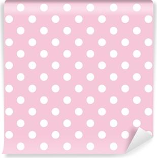Papier Peint Vinyle Pois sur fond rose bébé rétro modèle vectoriel transparente