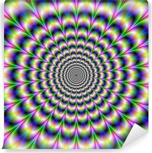 Papier Peint Vinyle Pulse psychédélique dans le pourpre et le vert