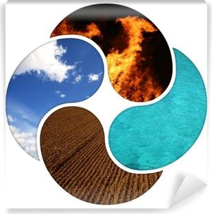 Papier peint vinyle Quatre éléments - la terre, le feu, l'eau, l'air