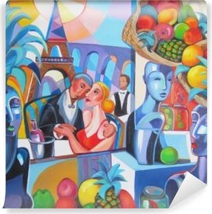 Papier peint vinyle Restaurant original de peinture à l'huile à paris