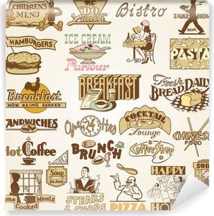 Papier peint vinyle Rétro Vintage Restaurant étiquettes, ensemble de thèmes divers aliments