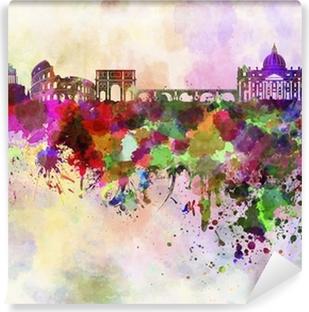 Papier peint vinyle Rome skyline en fond d'aquarelle