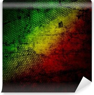 Papier peint vinyle Rouge, jaune, vert rasta drapeau grunge texture mur de béton