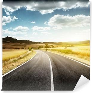 Papier peint vinyle Route goudronnée en Toscane, Italie