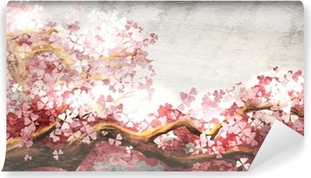 Papier peint vinyle Sakura branche floraison