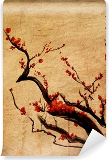 Papier peint vinyle Sakura, fleurs de cerisier prune peinture chinoise