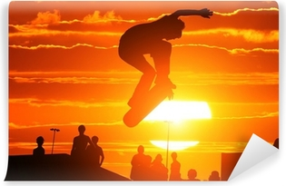 Papier peint vinyle Saut extrême haute planche à roulettes de garçon de patineur
