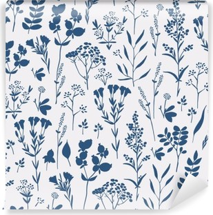Papier Peint Vinyle Seamless floral dessiné à la main avec des herbes