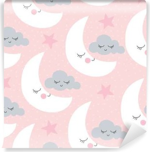 Papier peint vinyle Seamless moon and clouds pattern vector illustration