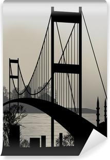 Papier peint vinyle Silhouette d'Istanbul et le pont du Bosphore
