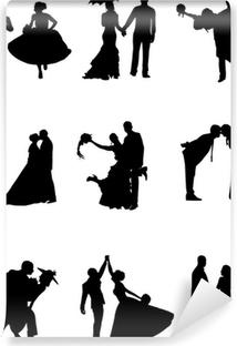 Papier peint vinyle Silhouette de marié et une mariée dans un neuf poses différentes