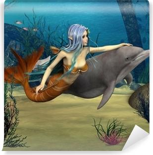 Papier peint vinyle Sirène et le dauphin