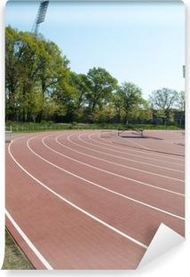 Papier peint vinyle Stade d'athlétisme d'été avec les pistes de course de l'exécution et les mâts de sophit
