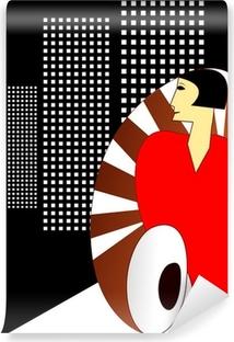 Papier peint vinyle Style Art Déco affiche, avec une élégante femme 1930