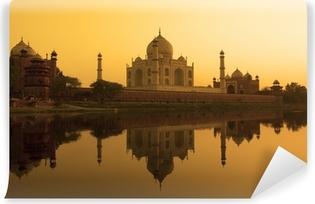 Papier Peint Vinyle Taj Mahal coucher de soleil reflet, rivière Yamuna.