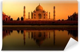 Papier Peint Vinyle Taj mahal en inde lors d'un magnifique coucher de soleil