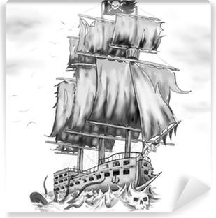 Papier peint vinyle Tatouage oeuvre bateau pirate vaisseau fantôme