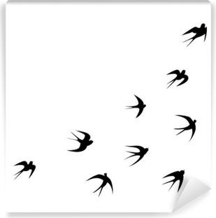 Papier peint vinyle Template hirondelles de tatouage silhouette